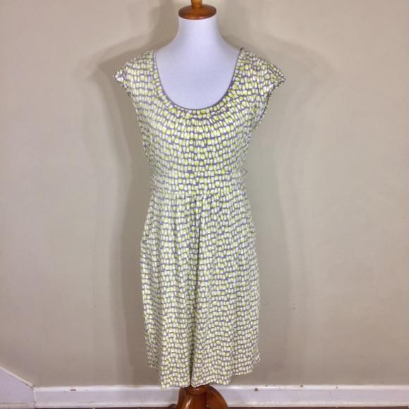 83370704337 Boden Dresses   Grey And Lime Green Geometric Jersey Dress   Poshmark